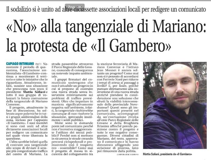 Articolo de Il giornale di Cantù del 04.04.2020