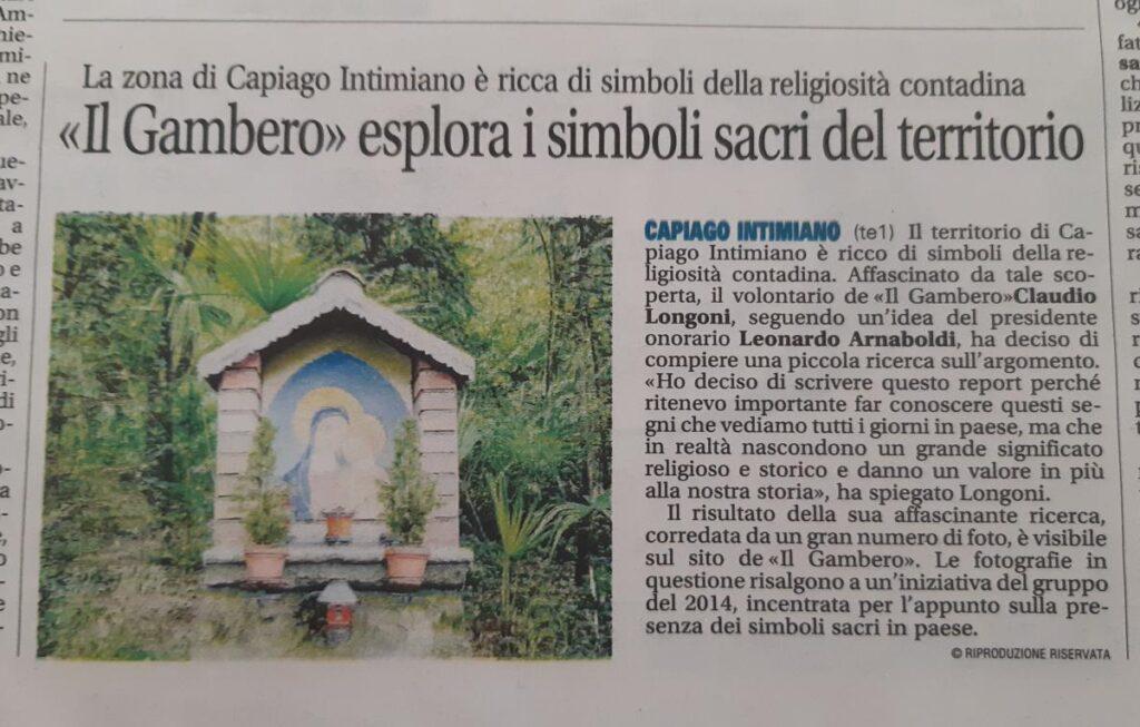Articolo Il Gambero esplora i simboli sacri del territorio
