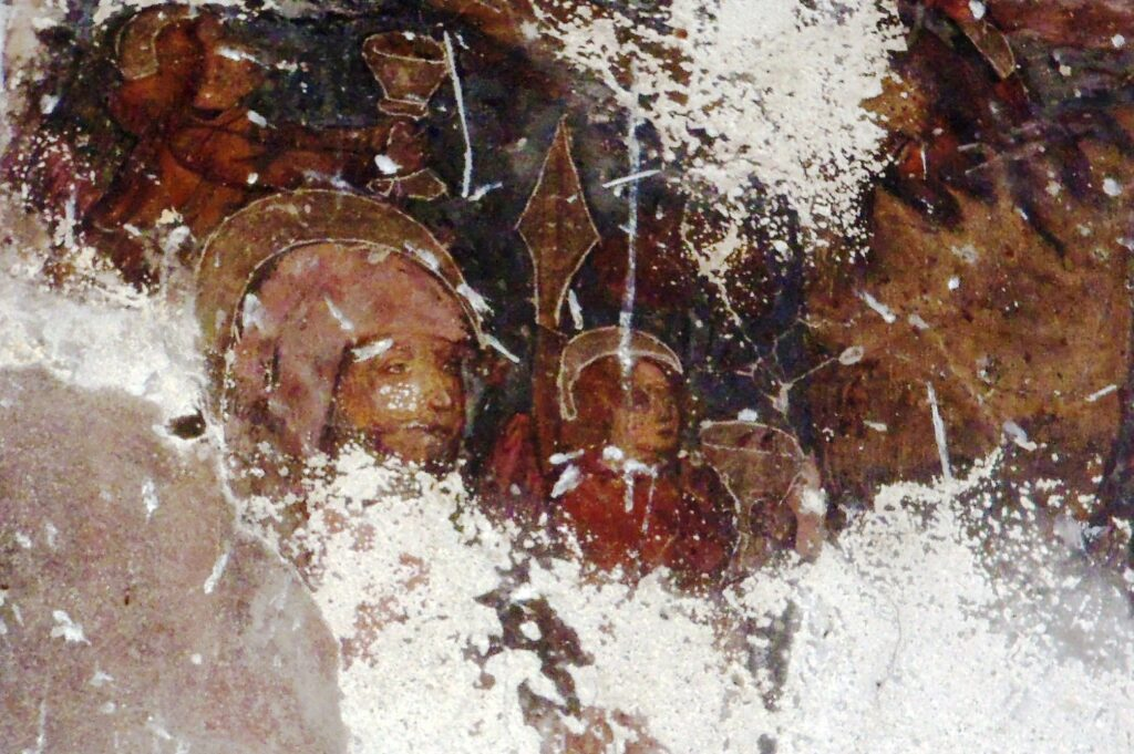 Affresco crocefissione secolo XV cascina Montecastello Intimiano